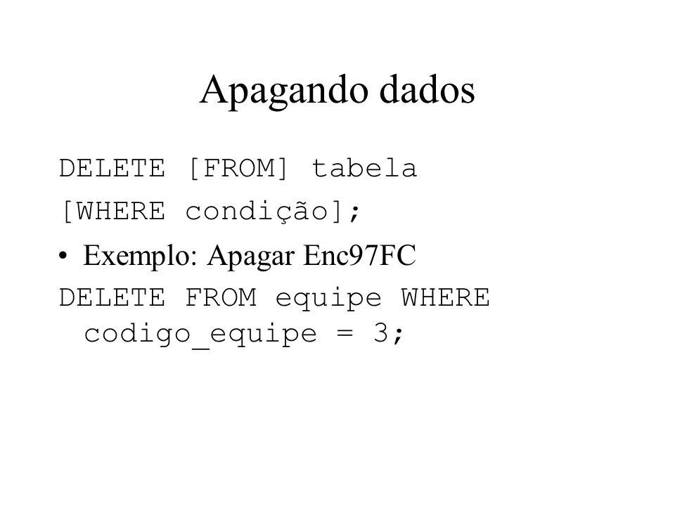 Apagando dados DELETE [FROM] tabela [WHERE condição];